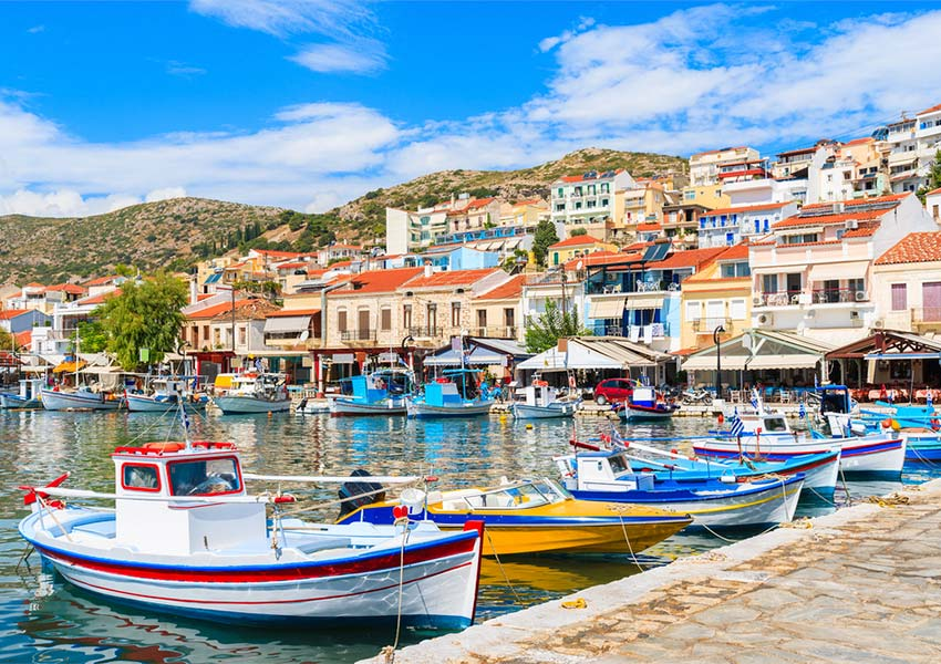 Atmosphere Fishing Port Pythagorion Samos Greek Cuisine Fresh Fish Dishes Available