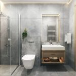 Bathroom Equipped With Walk-in Shower Sink And Mirror Property Montenegro For Sale