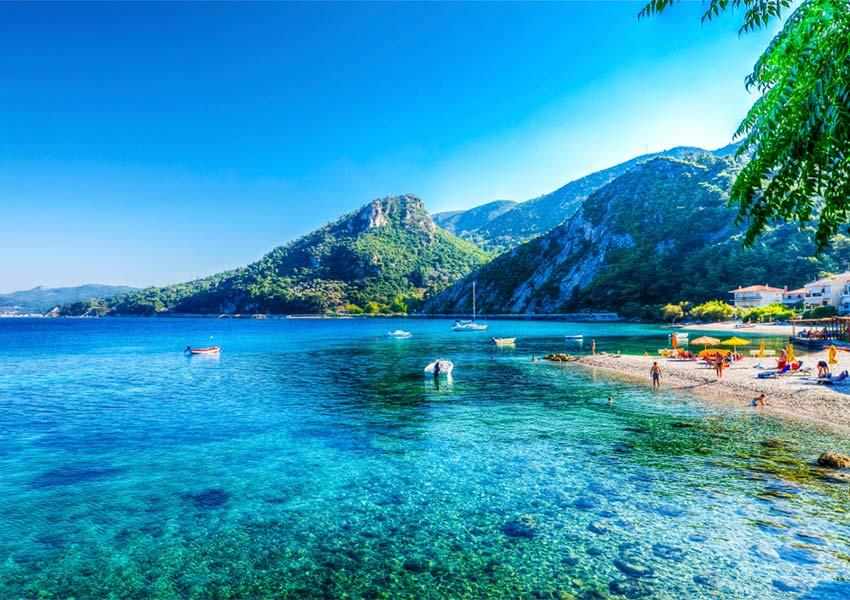 Beautiful Beach Azure Water Green Hills In Background Avlakia Samos Island Delightful Holiday Island