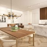 Exemplary Furnishing of Open Kitchen and Living Room Beautiful Combination of Natural Colours and Durable Materials