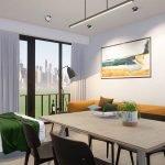 Exemple de design intérieur Table à manger Chaises Lit pliable Canapé Brussels Studio à vendre