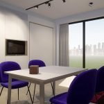 Exemple de lit de studio intérieur lumineux encastré dans le mur pour un espace maximal en journée