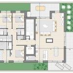 Floor Plan Penthouse For Sale in Block D with 3 Bedrooms Brussels Watermael Forest on Zonienwoud Vorstlaan