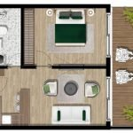 Ground plan Standard 1 Bedroom Apartment Royal Blue Montenegro