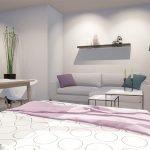 Lit double pliable dans un studio parfait pour les locations meublées aux expatriés Bruxelles
