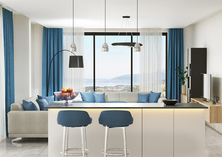 Modern Cosy Living Area With Elevated Table And Bar Stools Offering Fantastic Views