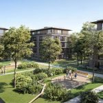 Property project with several buildings in a luminous green courtyard Watermael Forest