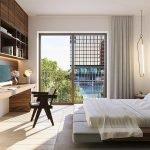 Sample Interior Bedroom Double Bed Wooden Flooring Desk Watermael Boitsfort