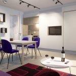 Studio intérieur atmosphérique avec lit double plié encastré dans le mur Finitions élégantes