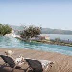 sun loungers on terrace overlooking spas overlooking hera bay samos