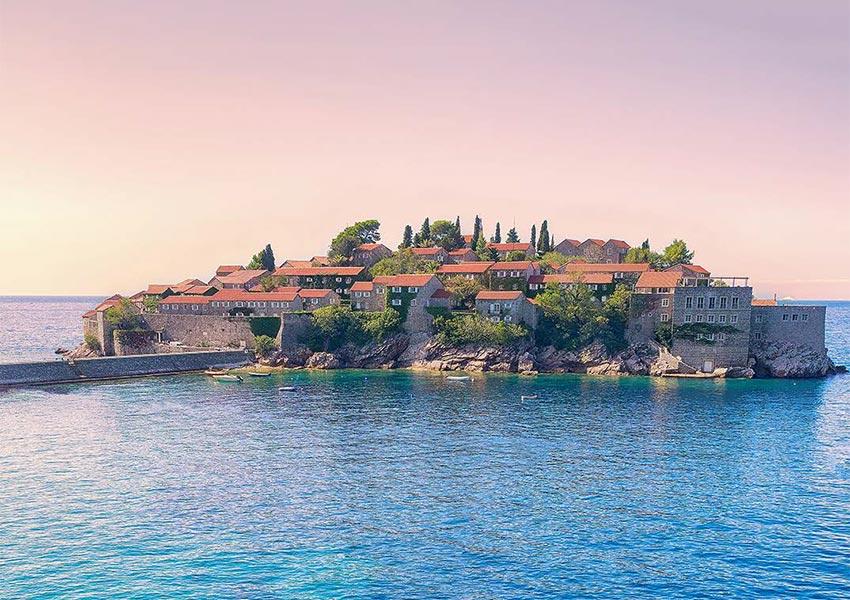 Sveti Stefan Island Old Fishing Village With Jetty In Adriatic Sea Montenegro