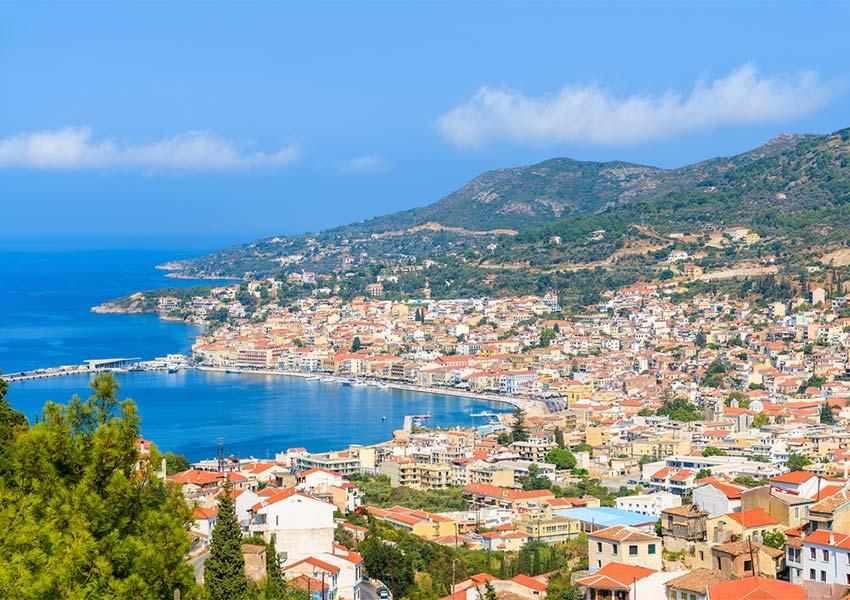 Vathy On Hillside Property For Sale Samos Town Shoreline Of Samos Island