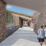 walkway above underlying studios and apartments for sale at hera bay luxury resort samos island